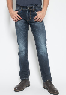 Slim Fit - Jeans Premium - Dark Navy - Aksen Full Washed