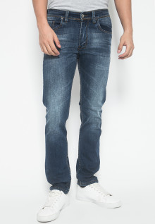 Slim Fit - Jeans Premium - Warna Biru - Aksen Full Washed