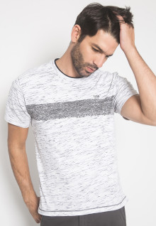 Slim Fit - Kaos Casual - LGS - Warna Putih - Motif Garis Horizontal