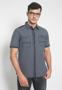 Slim Fit - Kemeja Casual - Motif Double Pocket - Warna Abu