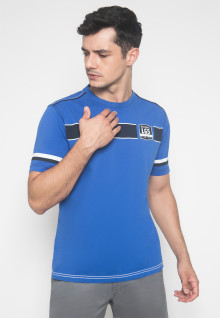 Slim Fit - Kaos Casual - LGS - Warna Biru - Motif Garis Horizontal
