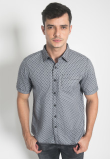 Kemeja Casual - LGS - Regular Fit - Abu - Motif Abstrak