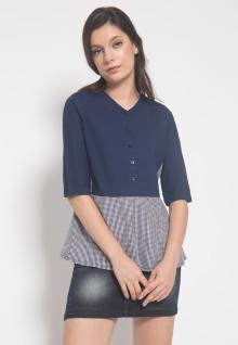 Slim Fit - Kemeja Wanita - Lengan Panjang - Motif Dress - Biru