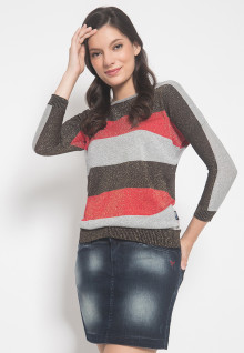 Slim Fit - Sweater Wanita - Motif Salur - Multi Color - Lengan Panjang