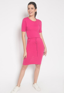 Slim Fit - Sweater Wanita - Motif Dress - Pink - Lengan Pendek