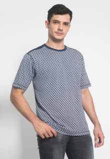 Regular Fit - Kaos Casual - Motif Polkadot - Biru
