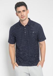 Regular Fit - Kaos Polo - Motif Aksen Halus - Biru