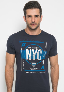 Slim Fit - Kaos Youth - Gambar Sablon - NYC - Hitam