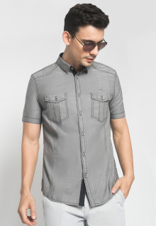 Slim Fit - Kemeja Casual - Model 2 Kantong - Warna Abu