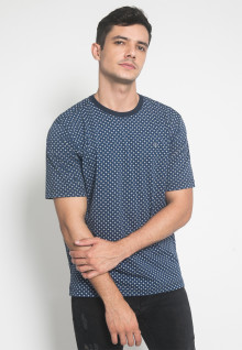 Regular Fit - Kaos Casual - Motif Polkadot Kecil - Warna Biru