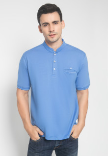 Regular Fit - Kaos Casual - Model Kancing - Warna Biru - Motif Polos