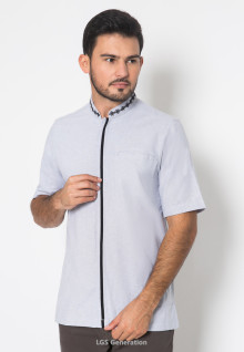 XXL - LGS - Baju Koko - Chest Pocket - Stripe Line - Biru
