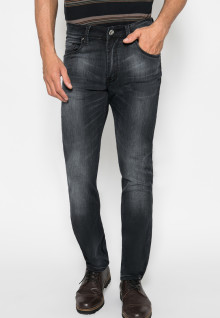 Jeans Premium - Slim Fit - Hitam - Aksen Washed