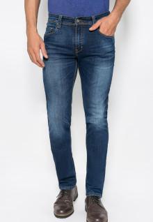 Jeans Premium - Slim Fit - Warna Biru - Motif Polos