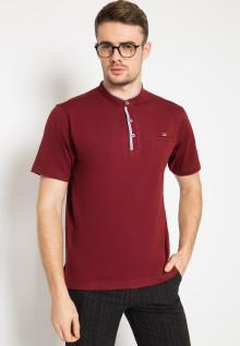Regular Fit - Kaos Casual - Kerah Shanghai - Merah
