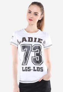 Slim Fit - Kaos Wanita - Putih - Motif Tulisan 73 - Lengan Pendek