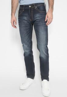 Jeans Premium - Slim Fit - Biru Navy - Aksen Washed