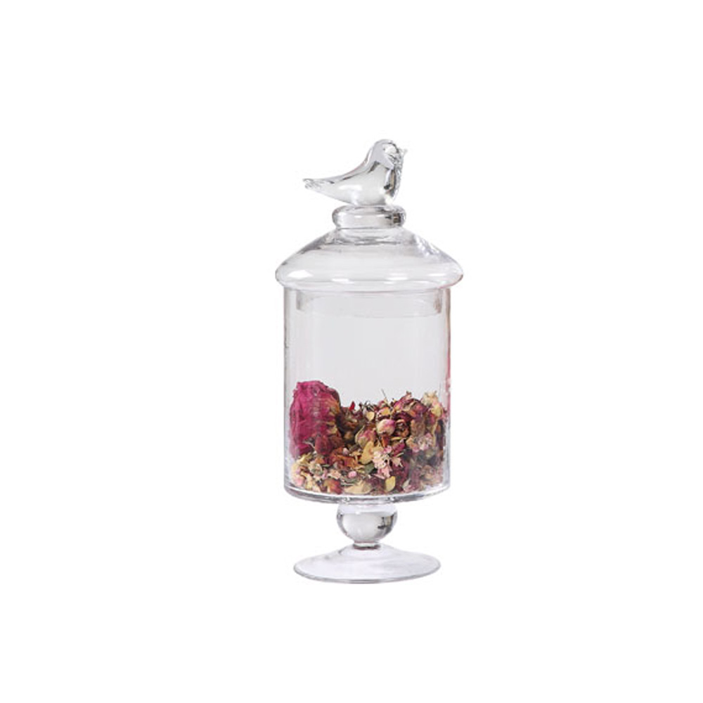 LUMIKASA GLASS FOOTED CONTAINER WITH BIRD LID MEDIUM