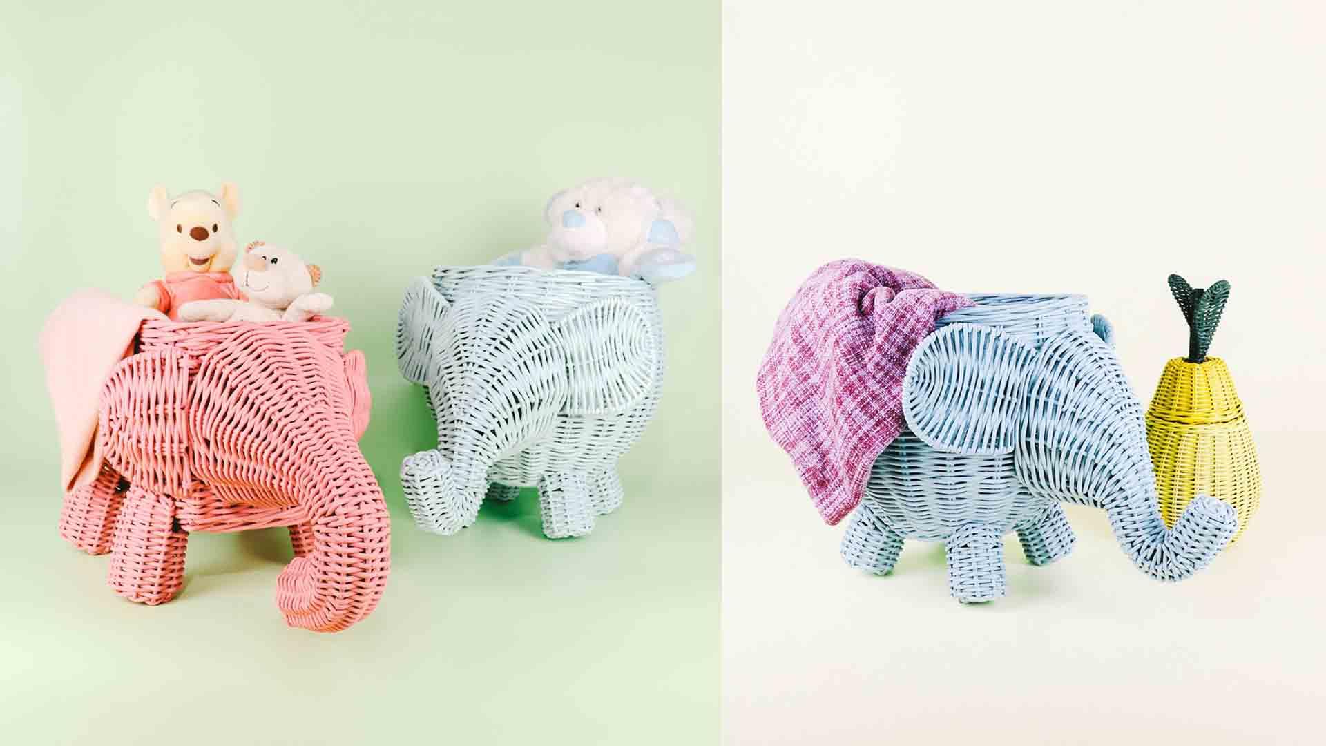animal rattan baskets