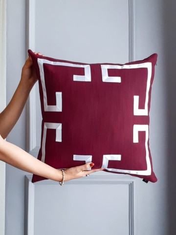 Cover Cushion Burgundy List Size 50x50