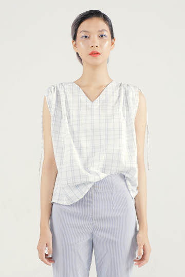 Light Checkered Coco Drawstring Top