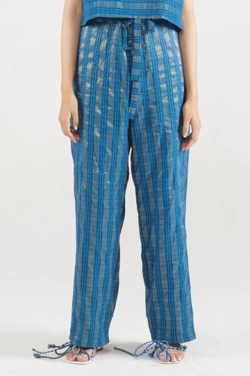 Blue Tartan Pinstripes Lin Knot Laidback Pants