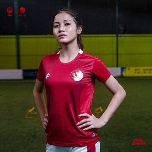 MILLS INDONESIA NATIONAL TEAM JERSEY HOME WOMEN PLAYER ISSUE 22017 GR RED