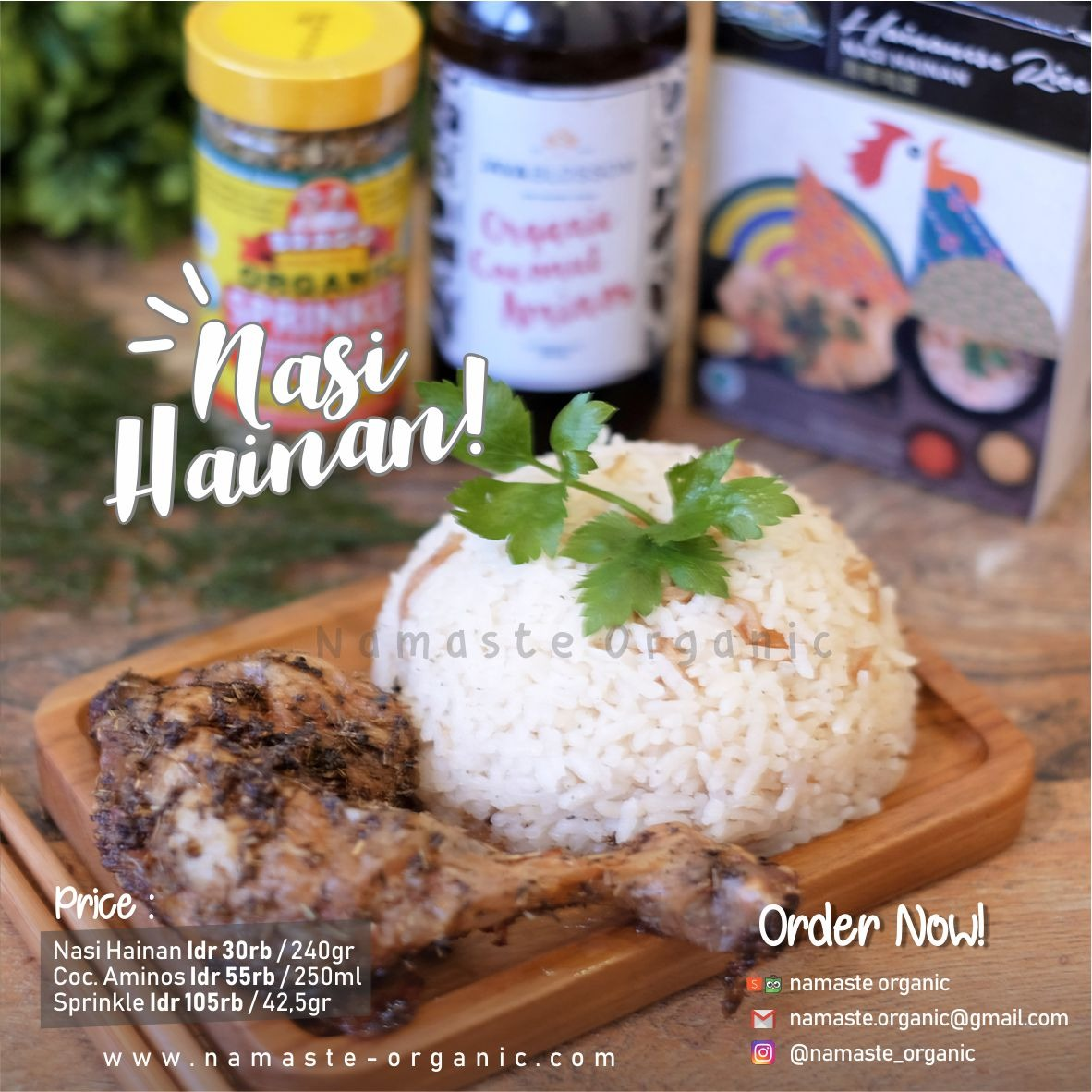 Hainan Rice and Roasted Chicken with Herbs & Coconut Aminos image