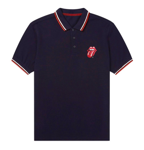 The Rolling Stones - Classic Tongue Navy Polo Shirt