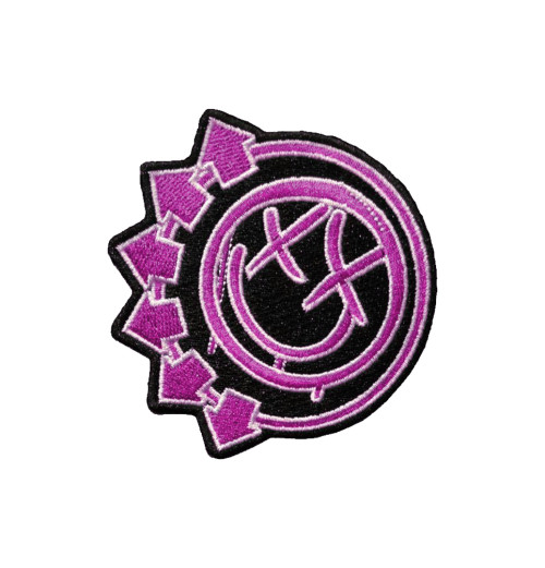Blink 182 - Pink Neon Six Arrows Smiley Woven Patch