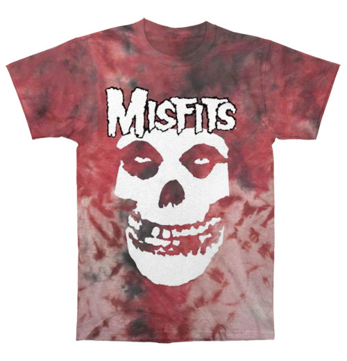 Misfits - Soft Hand Screent Print On Washed Tie Dye Red