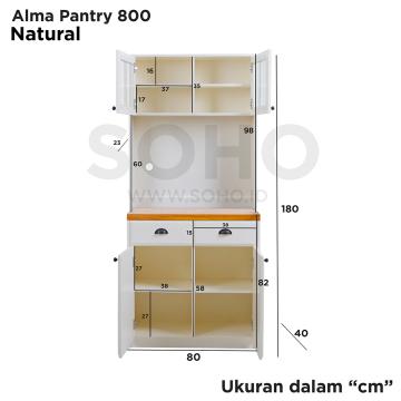 Lemari Makan - Alma Pantry 800 Natural Top
