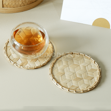 Bundle Double-wall Glass Cup with Woven Bamboo Coaster