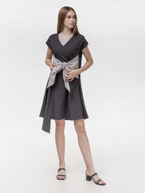 Koya Bow Dress in Grey image